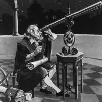 Galileo mentre usa il telescopio: siamo nel 1620