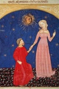 Immagine di Dante che incontra Beatrice, raffigurata dal poeta come una figura angelica