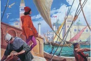 Disegno raffigurante Marco Polo durante il suo viaggio