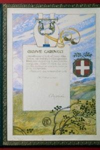 Certificato conferito a Carducci per la vittoria del Premio Nobel