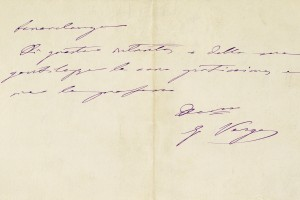 Nota scritta a mano da Giovanni Verga