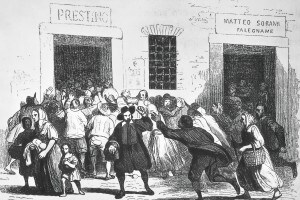 Raffigurazione dell'episodio della rivolta del pane