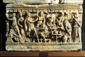 Alabastro raffigurante l'uccisione dei Proci