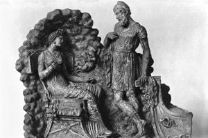 Rappresentazione in terracotta di Ulisse e Calypso