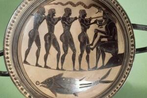 Piatto decorato con la scena di Ulisse che acceca Polifemo