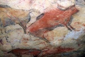 Bisonti dipinti sulle pareti delle grotte di Altamira in Spagna