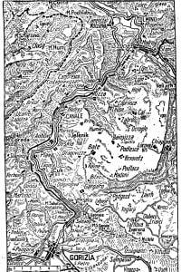 Mappa delle operazioni sull'altopiano della Bainsizza, 1917