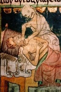 Illustrazione del 1376 circa che ritrae la morte che strangola un malato di peste