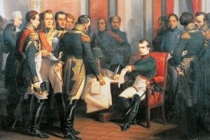 Napoleone firma la sua abdicazione a Fontainebleau il 4 aprile 1814.