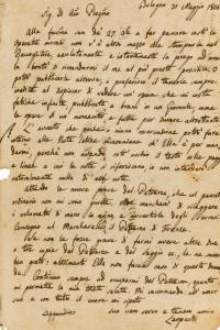 Lettera autografa di Leopardi indirizzata all'editore Antonio Fortunato Stella