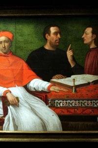 Ritratto di Cesare Borgia e Machiavelli in conversazione davanti al Duca di Gandia
