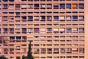 Fotografia di parte della facciata dell'Unite d'habitation di Marsiglia