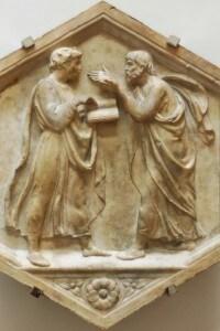 Aristotele e Platone, formella di Luca della Robbia