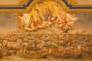 Dipinto dell'artista Lucas Valdez rappresentante la Battaglia di Lepanto