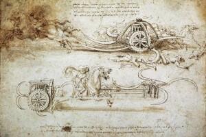 Disegno di una macchina da guerra progettata dal Leonardo da Vinci
