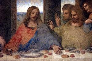 """Particolare del """"Cenacolo"""" di Leonardo. Gesù con gli apostoli Tommaso, Giacomo maggiore e Filippo"""