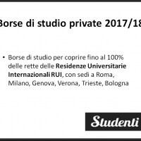 Borsa di studio 2017/18 per le Residenze Universitarie Internazionali RUI, a copertura di vitto e alloggio