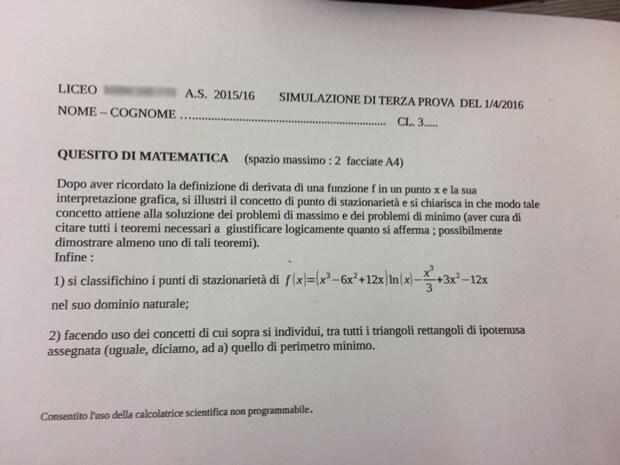 esempio terza prova matematica