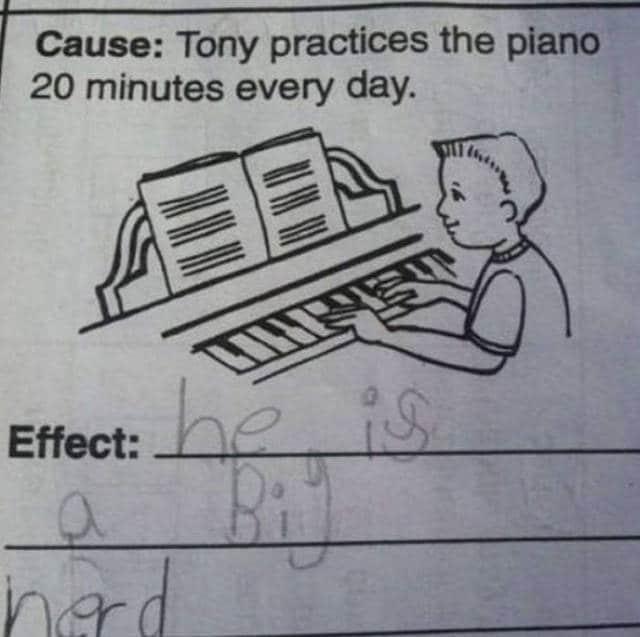 Tony si allena al piano per venti minuti al giorno, e quindi è...