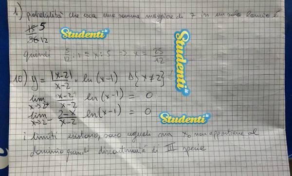 Soluzione quesito 10 simulazione matematica