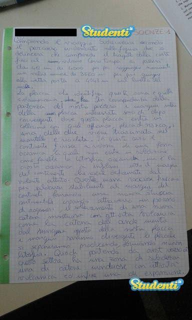 Prima pagina della soluzione di scienze