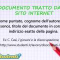 Scrivere la sitografia: documento tratto da un sito internet