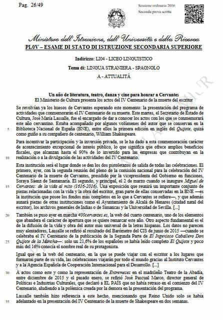 Seconda prova spagnolo, attualità: comprensione del testo (parte 1)