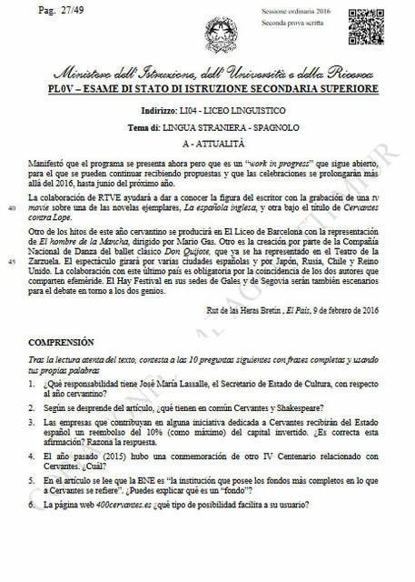 Seconda prova spagnolo, attualità: comprensione del testo (parte 2)