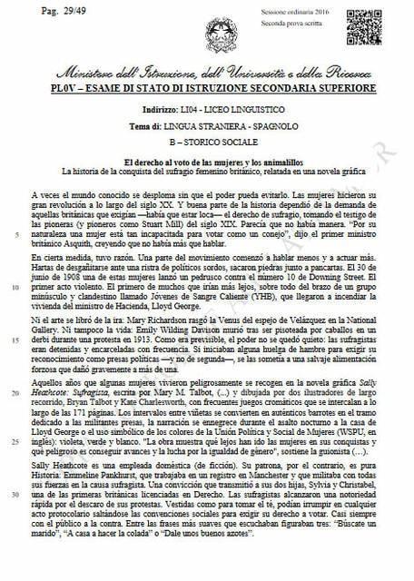 Seconda prova spagnolo, storico-sociale: comprensione del testo (parte 1)