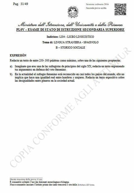 Seconda prova spagnolo, storico-sociale: produzione