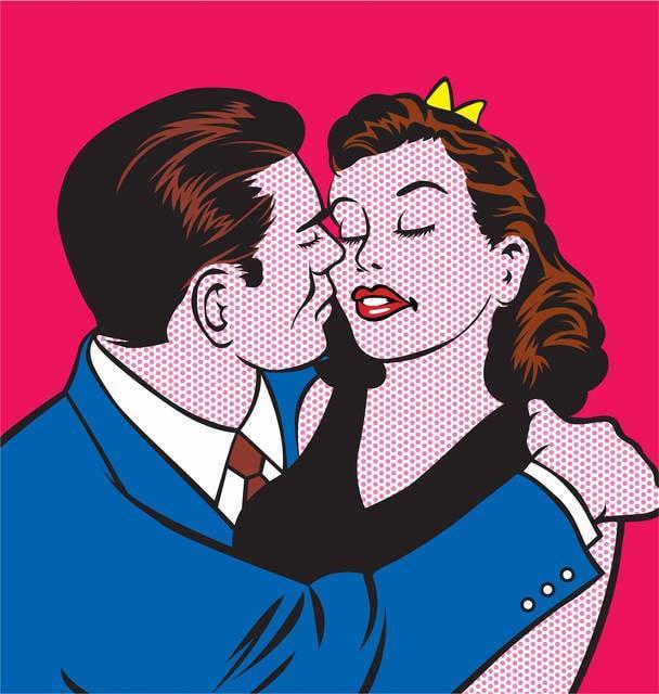 Pop art: coppia che si dà un bacio