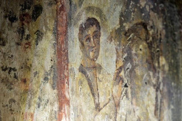 Affresco sulla catacomba di Santa Priscilla a Roma