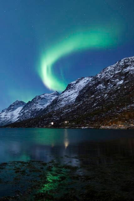 Aurora boreale nei Fiordi Norvegesi