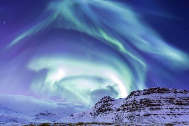 Aurora boreale nell'Islanda del nord