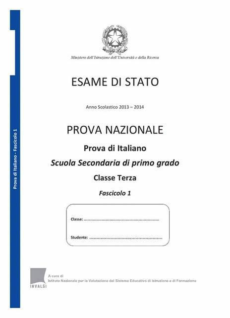 Prova Nazionale Invalsi di Italiano 2014