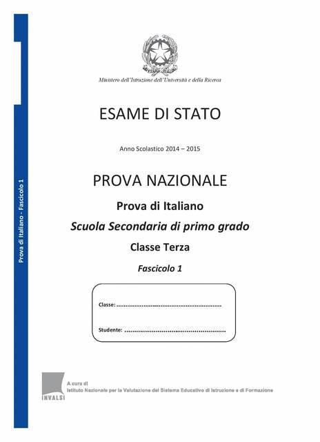 Test Invalsi 2015: domande di italiano - Pag 1