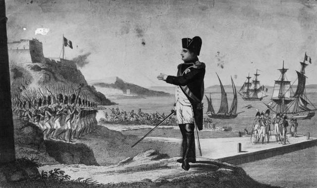 Napoleone e le sue truppe fuggono dall'Elba