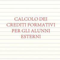 Calcolo dei crediti formativi per gli alunni esterni