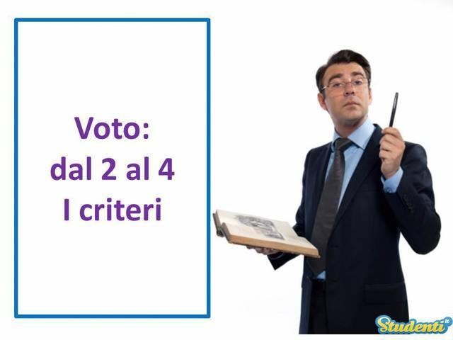 Voto: dal 2 al 4 – I criteri