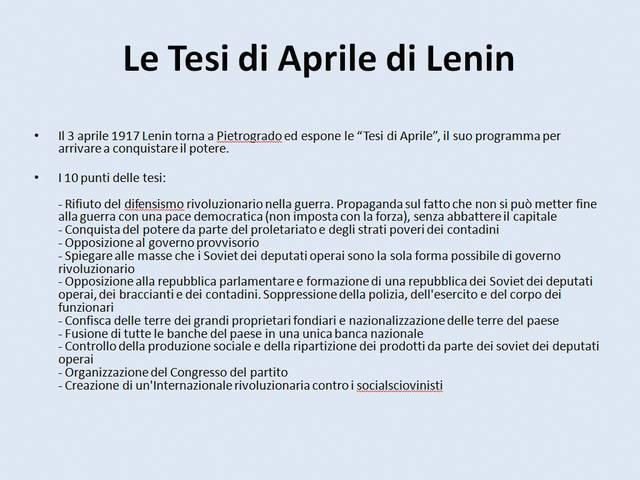 Le Tesi di Aprile di Lenin