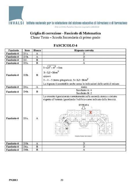 Soluzioni Invalsi 2013 Matematica Fascicolo 4 pagina uno