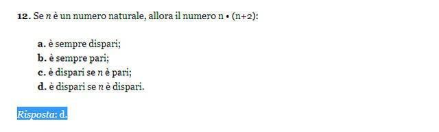 Soluzione esercizio matematica 12, Invalsi 2013