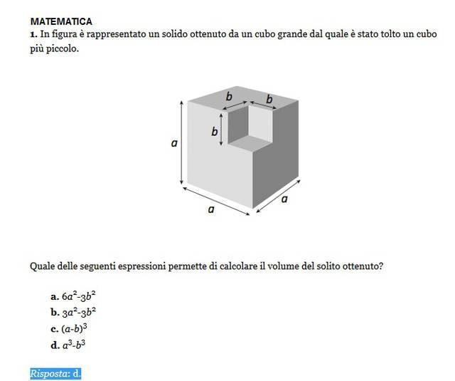 Soluzione esercizio matematica 1, Invalsi 2013