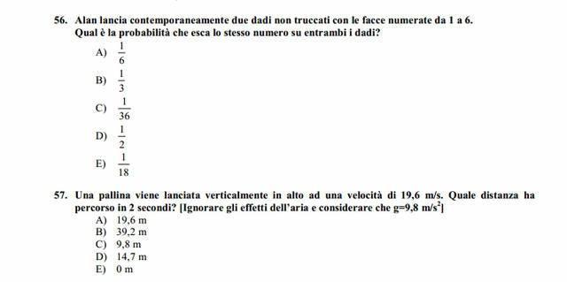 Soluzioni test Medicina 2013: domande 56 e 57