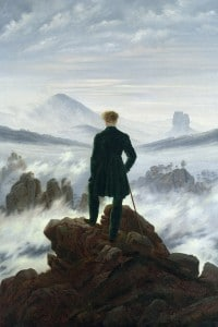Il viandante sul mare di nebbia, dipinto olio su tela del pittore romantico Caspar David Friedrich (1818)