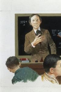 Rissa in classe. Immagine da una vecchia edizione del libro Cuore