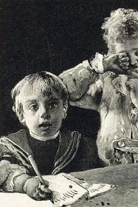 Primo giorno di scuola. Dal libro Cuore (1900)