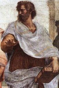 """Aristotele nell'affresco di Raffaello Sanzio """"La Scuola di Atene"""" (770×500 cm circa)"""