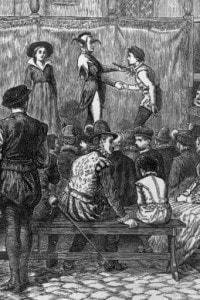 Una rappresentazione  di Shakespeare As You Like It' a Londra ai tempi di Elisabetta. 1580 circa