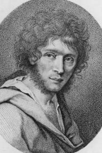 Ritratto di Ugo Foscolo in bianco e nero